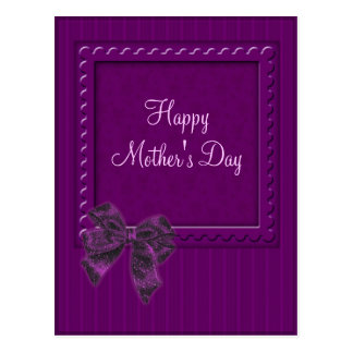 Lilac Stipes and Bow Mother's Day Design Postcard
