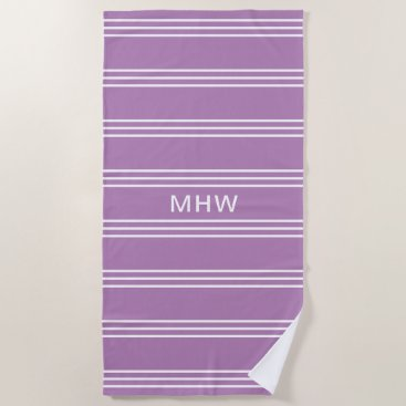 Beach Themed Lilac Stripes custom monogram beach towel