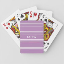 Lilac Stripes custom monogram playing cards