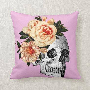 Halloween Themed Lilac Sugar Skull Dia De Los Muertos Throw Pillow