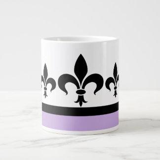 Lilac Swanky Fleur De Lis Jumbo Mug