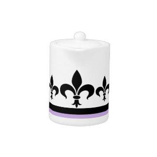 Lilac Swanky Fleur De Lis Teapot