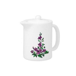 Lilac teapot purple flowers floral design