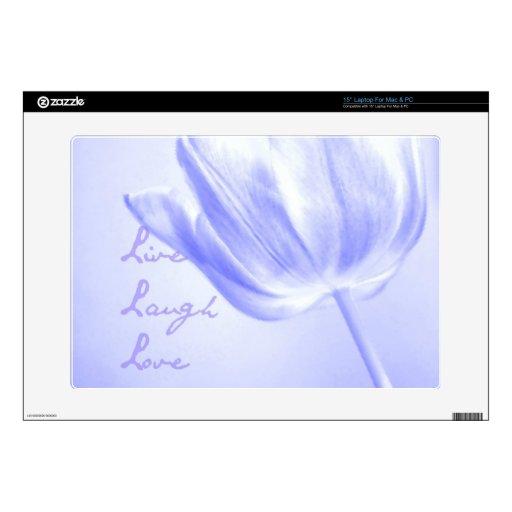 Lilac Tulip Live, Laugh, Love Laptop Skins
