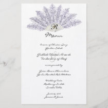 Lilac Vintage Feather Fan Wedding Menu
