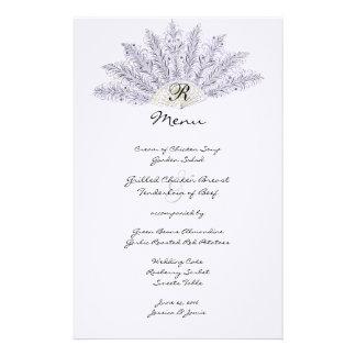 Lilac Vintage Feather Fan Wedding Menu