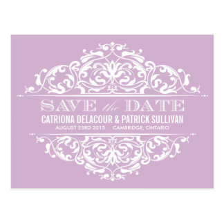 LILAC VINTAGE FLORAL FRAME SAVE THE DATE POSTCARD