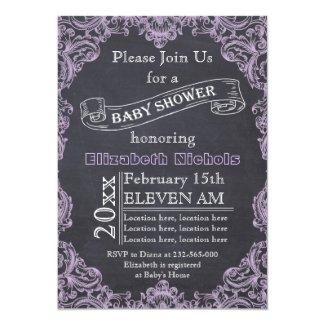 Lilac vintage frame and chalkboard baby shower card
