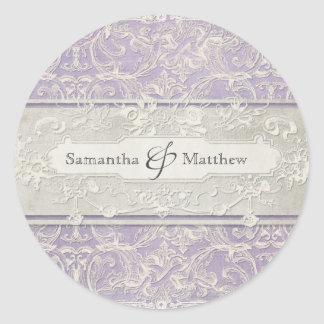 Lilac Vintage French Regency Lace Etched Wedding Classic Round Sticker