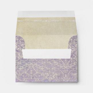 Lilac Vintage French Regency Lace Etched Wedding Envelopes