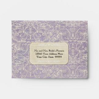 Lilac Vintage French Regency Lace Etched Wedding Envelope