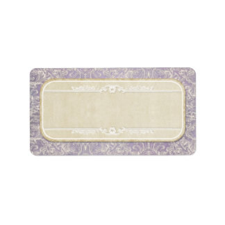 Lilac Vintage French Regency Lace Etched Wedding Label