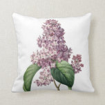 Lilac vintage illustration Redoute Throw Pillow