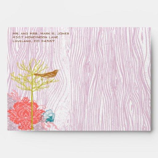 Lilac Vintage Wood Grain Tree Bird Damask Envelope