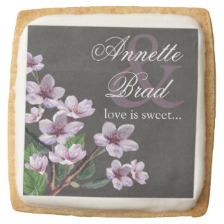 Lilac Watercolor Chalkboard Flowers Love is Sweet Square Shortbread Cookie