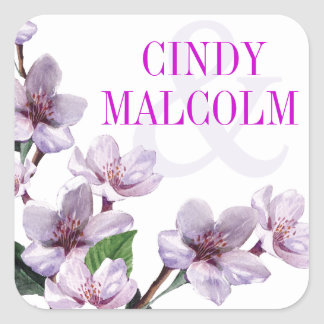 Lilac Watercolor Flowers Favor Square Sticker