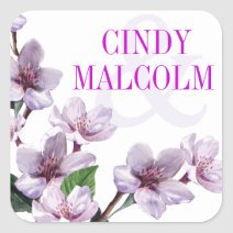 Lilac Watercolor Flowers Favor Square Stickers
