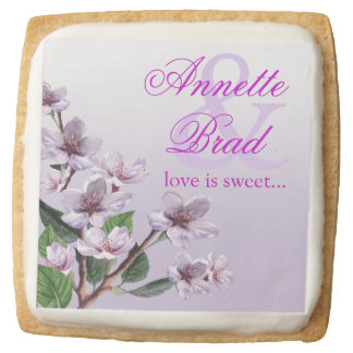 Lilac Watercolor Flowers Love is Sweet Square Shortbread Cookie