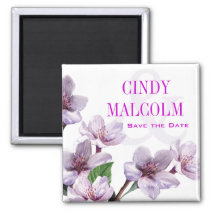 Lilac Watercolor Flowers save the date Magnet