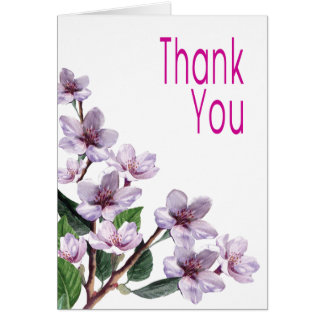 Lilac Watercolor Flowers Thank You Card
