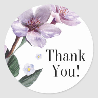 Lilac Watercolor Flowers Thank You Classic Round Sticker