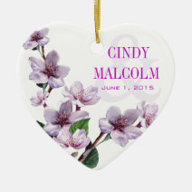 Lilac Watercolor Flowers Wedding Christmas Ornaments