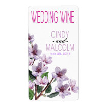 Lilac Watercolor Flowers Wine Label