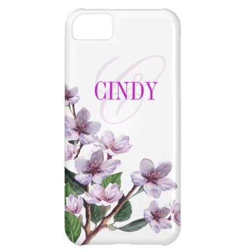 Lilac Watercolor Monogram designer iPhone 5C Case