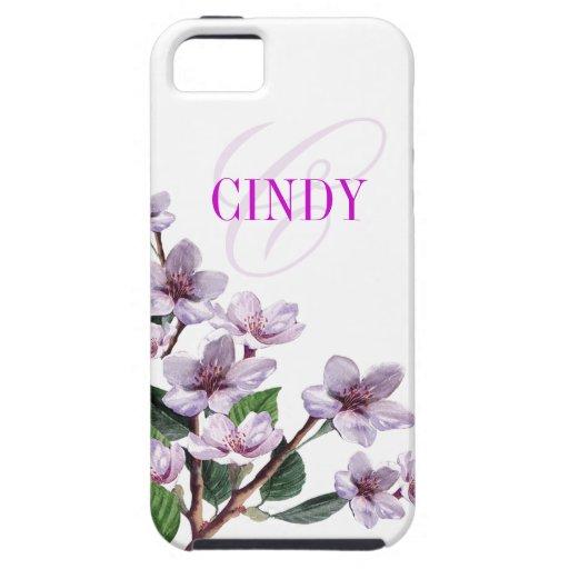 Lilac Watercolor Monogram designer iPhone 5 Cover