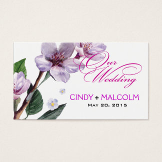 Lilac Watercolor Wedding Website Business Card