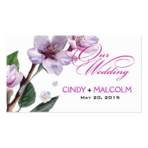 Lilac Watercolor Wedding Website Business Cards