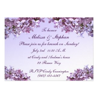 Lilac Wedding Brunch Personalized Invitations
