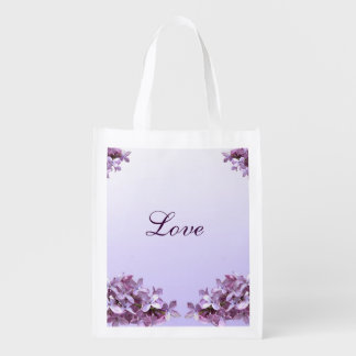 Lilac Wedding Love Reusable Tote Reusable Grocery Bags