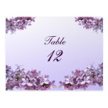Lilac Wedding Table Number Post Cards