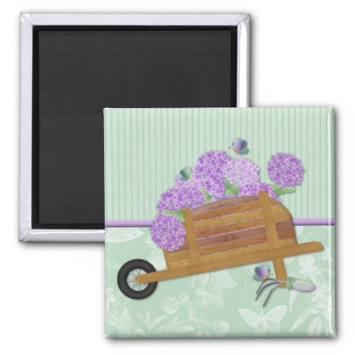 Lilac Wheelbarrow on Pastel Green 2 Inch Square Magnet