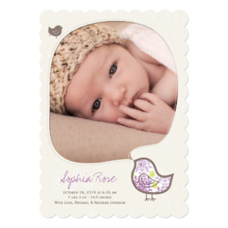 Lilac Whimsical Chick Baby Girl Birth Announcement