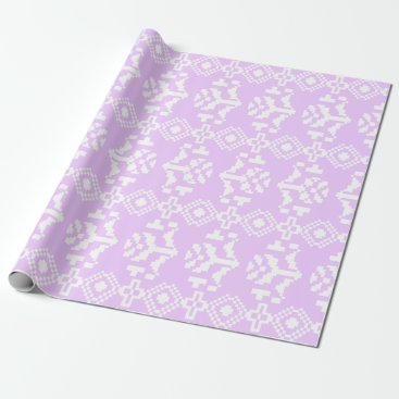 Aztec Themed Lilac & White Aztec Floral Stripes Wrapping Paper