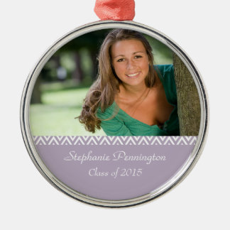 Lilac white zig zag graduation photo ornament