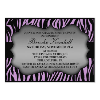 Lilac Wild Night Zebra Print Bachelorette Party 5x7 Paper Invitation Card