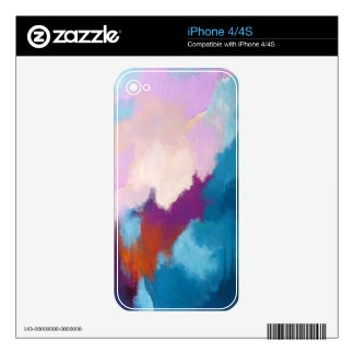 Lilac with Aqua Modern Abstract Painting - KT 2013 Decals For iPhone 4S
