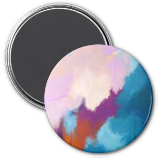 Lilac with Aqua Modern Abstract Painting - KT 2013 Refrigerator Magnet