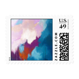 Lilac with Aqua Modern Abstract Painting - KT 2013 Postage