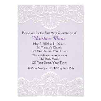 Lilac with Lace, Cross, Religious 5x7 Paper Invitation Card