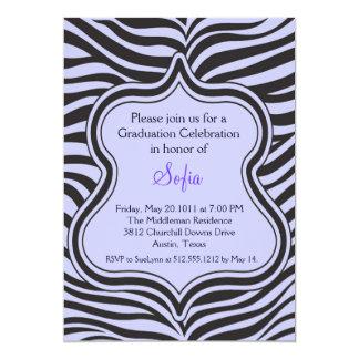 Lilac Zebra Graduation Invitation Custom Color