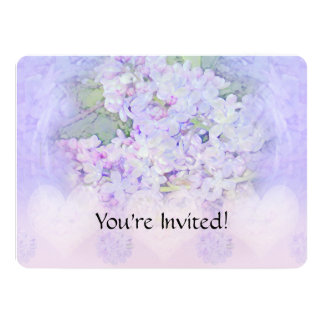 Lilacs and Hearts Custom Floral 5.5x7.5 Paper Invitation Card