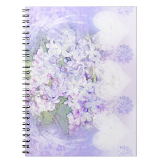 Lilacs and Hearts Spiral Note Book