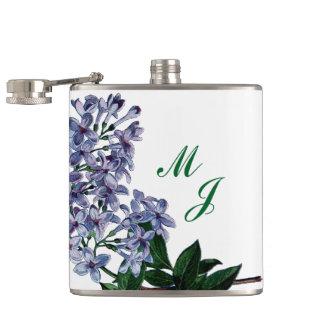 Lilacs and Monogram Hip Flask