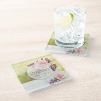 Lilacs and Roses Vintage Wedding Cheers Glass Coaster