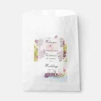Lilacs and Roses Vintage Wedding editable Favor Bag