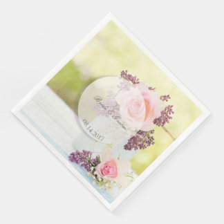 Lilacs and Roses Vintage Wedding Paper Dinner Napkin